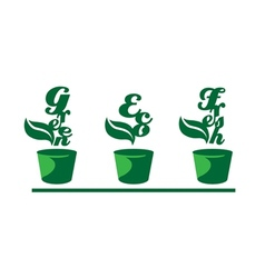 Green words in pots vector