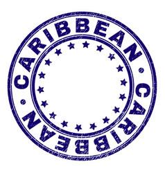 Grunge textured caribbean round stamp seal vector