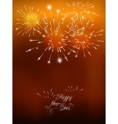 Happy New Year card with golden fireworks vector