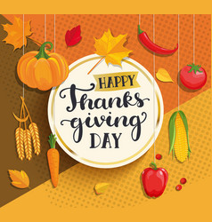 Happy thanksgiving day card on geometric vector