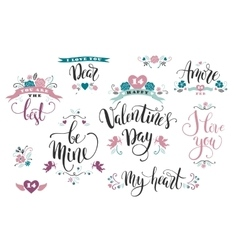 Happy Valentines Day Set of hand drawn vector