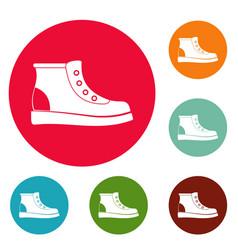 Hiking boots icons circle set vector