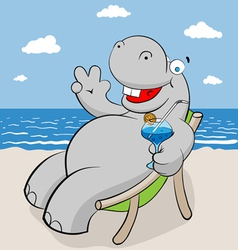 hippo on the beach vector image