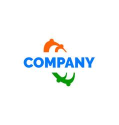 human swoosh circle logo template vector image