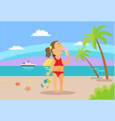 kid eating ice-cream on beach vacation vector image