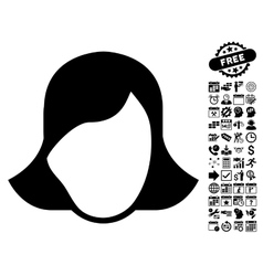 Lady Face Template Flat Icon With Bonus vector