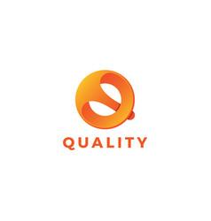 Letter q orange color 3d quality logo vector
