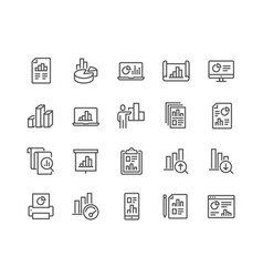 line graph icons vector image