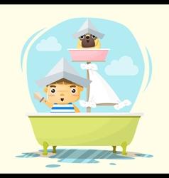 Little boy captain and friend vector