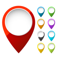 map marker map pin shapes elements in 6 color vector image