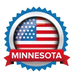 Minnesota and USA flag badge vector