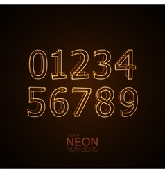 Neon 3D number set vector