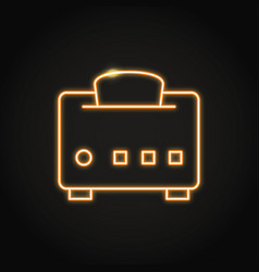 Neon toaster with bread icon in line style vector