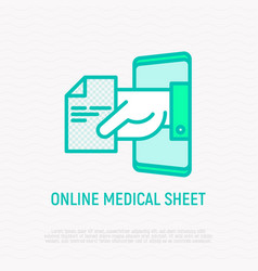 online medical sheet prescription thin line icon vector image