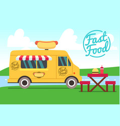 outdoor cafe with food truck and tables street vector image