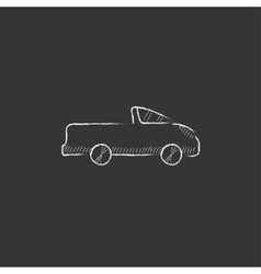 Pick up truck Drawn in chalk icon vector