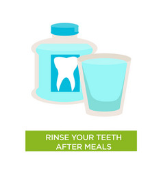 Rinse teeth after meal dental care oral cavity vector