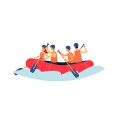 river rafting - cartoon people rowing in vector image