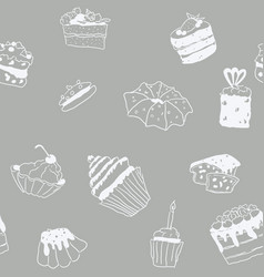 seamless pattern sweets doodle pastry gray pattern vector image