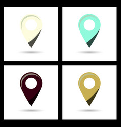 Set of color gps navigator point pin map flat icon vector