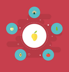 set of fruit icons flat style symbols with apple vector image