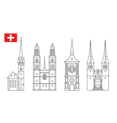 set switzerland landmark icons in outline style vector image