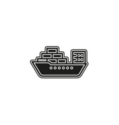 shipping boat - travel icon - cruise boat symbol vector image