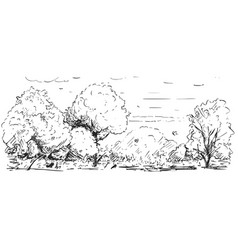 sketchy drawing of nature park landscape vector image