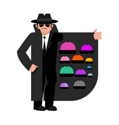 Smuggler selling brains cloak-seller isolated vector