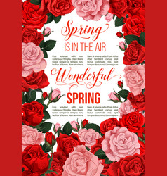 springtime red flowers greeting card vector image