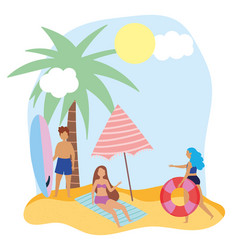 summer people activities man with surfboard girls vector image
