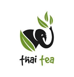 Tea elephant logo design vector