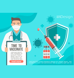 time to vaccinate banner in doctors hands vector image