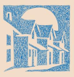 Town house sketch vector