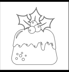 traditional christmas pudding with holly vector image