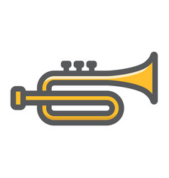trumpet filled outline icon music instrument vector image