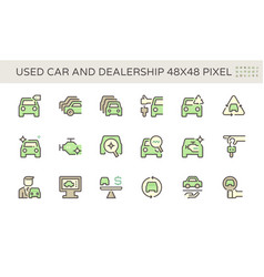 Used car and dealership icon set design 48x48 vector