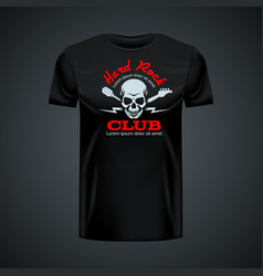 Vintage t-shirt template with hard rock club vector