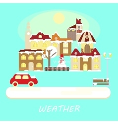 Winter weather colorful landscape banner vector