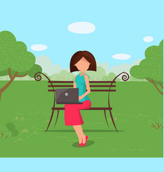 Woman sitting on bench in park with laptop vector