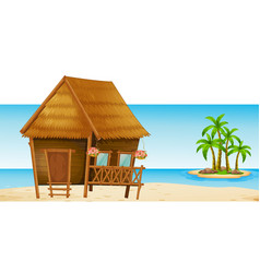 wooden hut on the beach vector image