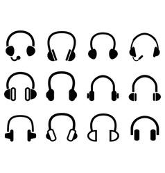 Black headphone headset icons vector