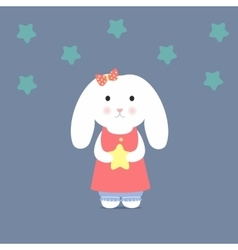 Cute Bunny holding a star vector image vector image