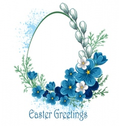 Easter banner with spring flowers vector image