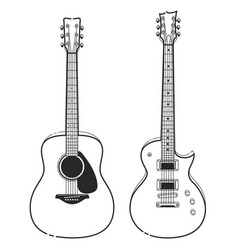 Electric and acoustic guitars vector