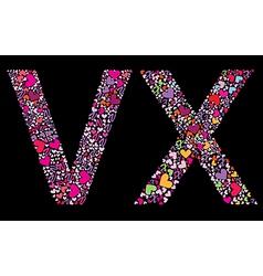 letter v x valentine alphabet vector image vector image