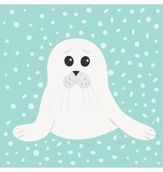 White seal pup baby harp Cute cartoon character vector image