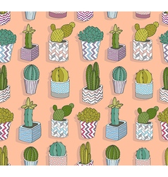 Cute seamless cactus pattern vector image