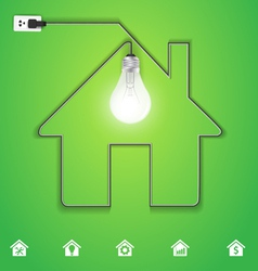 Home icon with creative light bulb vector image vector image