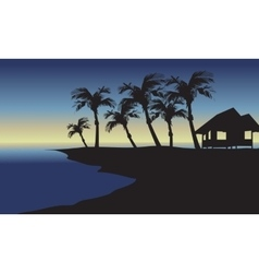 Silhouette of hut and palm vector image vector image